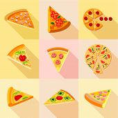 Pieces Of Pizza Icons Set. Flat Set Of 9 Pieces Of Pizza Icons For Web With Long Shadow poster