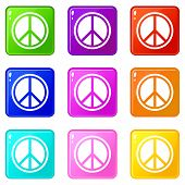 Sign Hippie Peace Icons Of 9 Color Set Isolated Illustration poster