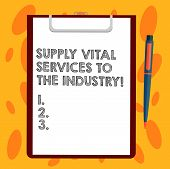 Writing Note Showing Supply Vital Services To The Industry. Business Photo Showcasing Power Supplies poster