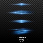 Set Of Blue Light Effects On A Transparent Background. Flashes And Glares. Neon Rays Of Light. Glowi poster