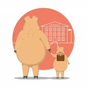 Thick Pig. The Pig Leads The Piglet To The School. Cartoon Pig. Pig With A Handkerchief. poster