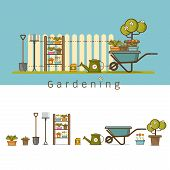 Concept Of Gardening Or Agriculture . Garden Tools. Banner Or Poster With Summer Garden Vertical Lan poster
