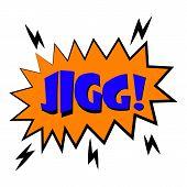 Jigg Explosion Sound Effect Icon. Cartoon Illustration Of Jigg Explosion Sound Effect Icon For Web D poster