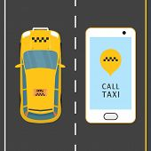 Mobile Phone With Taxi Service Banner Vector Illustration. Taxi Service Application On A Screen. Cal poster