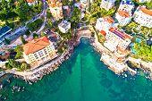 Scenic Coastline Of Opatija And Lungomare Seaside Walkway Aerial View, Kvarner Bay Of Croatia poster