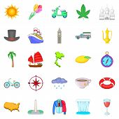 Voyage Icons Set. Cartoon Set Of 25 Voyage Icons For Web Isolated On White Background poster