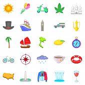 Voyage Icons Set. Cartoon Set Of 25 Voyage Icons For Web Isolated On White Background poster