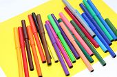 Markers Are Scattered On The Table. Multi-color Markers For Drawing. Draw Children, Schoolchildren,  poster