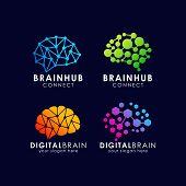 Brain Connection Logo Design. Digital Brain Logo Template poster