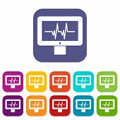 Electrocardiogram Monitor Icons Set Illustration In Flat Style In Colors Red, Blue, Green, And Other poster