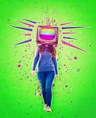 Contemporary Art Collage, Addicted Woman Walking And Old Tv Instead Of Head. Modern Style Poster Zin poster