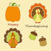 Cute Thanksgiving Elements As Retro Fabric Applique In Traditional Colors poster