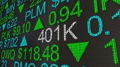 401K Retirement Account Stock Market Ticker Words 3d Illustration poster