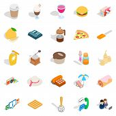 Tasty Food Icons Set. Isometric Set Of 25 Tasty Food Icons For Web Isolated On White Background poster