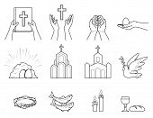 Religious Christian Symbols And Signs. Set  Icons Crown Of Thorns, Church, Fish, Candles, Bread And  poster