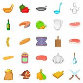 Tasty Food Icons Set. Cartoon Set Of 25 Tasty Food Icons For Web Isolated On White Background poster