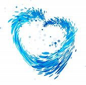 Water Drop Heart Shaped, Splash Water Heart, Blue Heart, Isolated On White Background, Vector Blue H poster