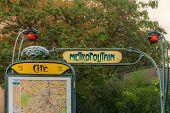 Ornate Art Deco Or Art Nouveau Parisian Metro Sign With A Map Fragment At The Ile De La Cite Stop Ne poster