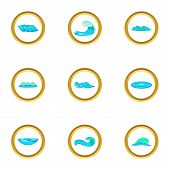 Surf Waves Icons Set. Cartoon Set Of 9 Surf Waves Icons For Web Isolated On White Background poster