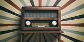 Radio Old Fashioned On Wooden Table, Retro Wall Background, 3D Illustration poster