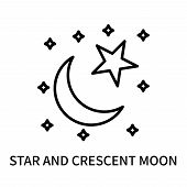 Star And Crescent Moon Icon Isolated On White Background. Star And Crescent Moon Icon Simple Sign. S poster