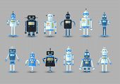 Retro Vintage Funny Vector Robot Set Icon In Flat Style Isolated On Grey Background. Vintage Illustr poster