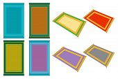 Illustration On Theme Big Colored Set Different Types Of Prayer Rugs, Mats Retro Style. Mat Pattern  poster