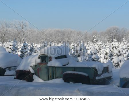 Picture or Photo of Old truck in winter
