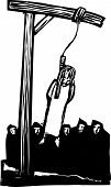 stock photo of gallows  - Expressionist woodcut style Girl being executed by being hung from the gallows and watched by a crowd - JPG