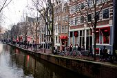 image of whore  - Canal at the Red Light District in Amsterdam - JPG