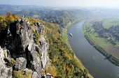 View from the Bastei in the Saxon Switzerland, Germany