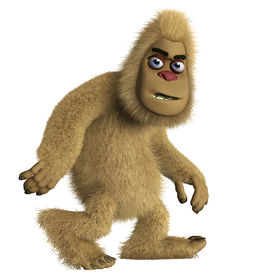 picture of x-files  - 3 d cartoon cute brown bigfoot monster - JPG