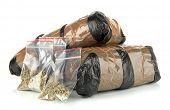 stock photo of smuggling  - Packages of  narcotics isolated on white - JPG