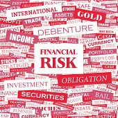 FINANCIAL RISK. Word cloud concept illustration. Graphic tag collection. Wordcloud collage with rela