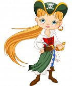foto of buccaneer  - Girl dressed as a pirate  - JPG