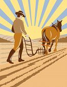 image of horse plowing  - Vector illustration of a farmer plowing the field with his horse - JPG