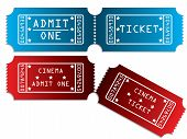 Various Tickets In Red And Blue