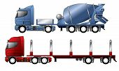stock photo of 18 wheeler  - European trucks with mixer and timber trailer - JPG