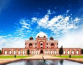 India Delhi Humayun tomb mausoleum. Indian architecture monument