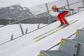 SEEFELD, AUSTRIA - JANUARY 19 Test jumper V5 jumps in Seefeld during a training session on January 1