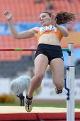 DONETSK, UKRAINE - JULY 12: Inge Drost of Netherlands competes in high jump competition in Heptathlo