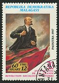 MADAGASCAR - CIRCA 1987: A stamp printed in Madagascar shows image of The Vladimir Ilyich Lenin; bor