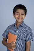 pic of bagpack  - Handsome Indian toddler ready to go to school - JPG