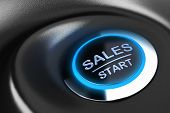 foto of start over  - Sales button with blue light - JPG