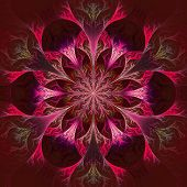 Beautiful Fractal Flower In Claret And Red. Computer Generated Graphics.