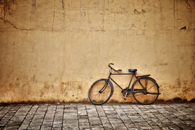image of pedal  - Old rusty vintage bicycle near the concrete wall - JPG
