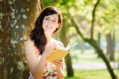 Relaxed Woman Reading Book