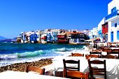 picture of greek-architecture  - Colorful Little Venice neighborhood of Mykonos island - JPG