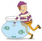 foto of piranha  - Illustration of a man stealing a money inside a jar full of piranhas - JPG