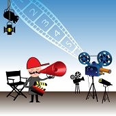 stock photo of crew cut  - Colorful illustration with movie director holding a clapboard and giving instructions through a megaphone - JPG